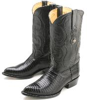 Western Classic Superior Comfort Black Teju Lizard Leather Cowboy Boots