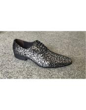 Man Made Texture Pattern Black ~ Silver Lace Up Geniune Leather Footwear