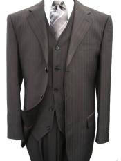 ZQ78 3 Piece Black Pinstripe Mens Vested 3 ~ Three Piece Suit Wool Feel Extra Fine Poly~Rayon