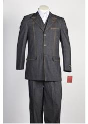 Mens Denim Jean 3 Button 2 Piece Single Breasted Suit Black