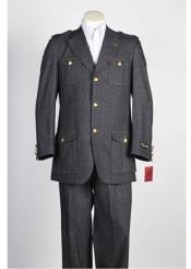 Mens 3 button Suit Black