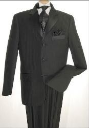 Tone-on-Tone Stripe Three Button Satin Notch Lapel Tuxedo Black On Black Shadow Stripe Three buttons With Vest