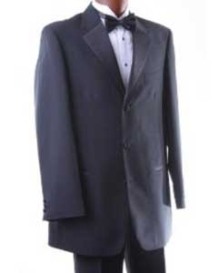 Mens Single Breasted Three Button Black Tuxedo