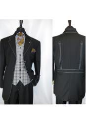 Landi Black Mens Vested Single Breasted 3 Button Suit Jacket