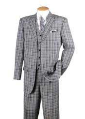 Mens Black 3 Piece Plaid Window Pane Three Buttons Style suit Vested