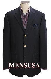 Buttons Notch Lapel Jet Black Mens Dress Blazer For Men 3