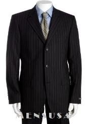Black & Gray Multi Mini Pinstripe 3 Buttons Super 120S Wool Cheap