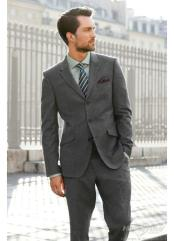 3/Three Button Fitted Slim Fit Wool Suit Flat Front Pants Side