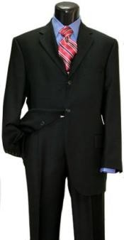 Solid - plain Soft Three buttons Suit style Black Super 150 Wool (Power Black)