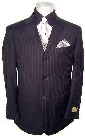 MU44 High End 3 Buttons Black & Small Pinstripe Super 140s Wool Business Suits