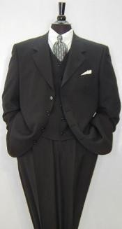 Black Super 150s Wool & Cashmere Mens 3 buttons Luxurious High End Notch Lapel Side Vented
