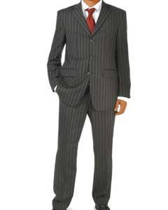 Black Pinstripe 100% Real Wool Available in 2 or 3 Buttons Style