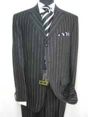 Jet Black Pinstripe Rayon Fabric 1920s 30s Fashion Look Available in 2 or Three ~ 3 Buttons