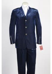 3 Button Single Breasted Blue Velvet Suit