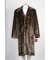 Mens 3 Button Long Fur Coat Brown