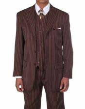 Mens Brown/White 1920s 30s Fashion Look Available in 2 or Three ~ 3 Buttons Vested Pinstripe ~