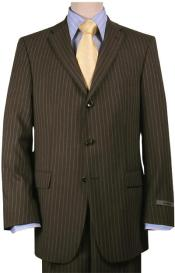 Brown Pinstripe Feel Poly-Rayon Three ~ 3 Buttons  Style Suit Pleated