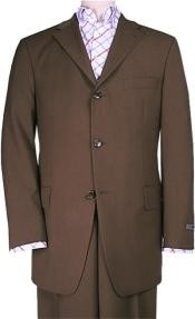 Brown Solid Brown premier quality italian fabric Super 150s Wool Three
