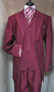 Single Breasted Vested Suit Jacket With Contrasting Darker Burgundy ~ Wine