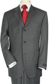 Three ~ 3 Buttons Mens Suit Dark Charcoal premier quality italian
