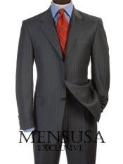 Mens Charcoal Gray Pinsripe Three - 3 Buttons Style Double Vent