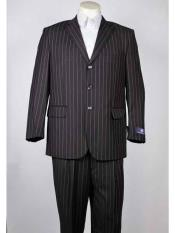 Charcoal Mens Pinstripe Notch
