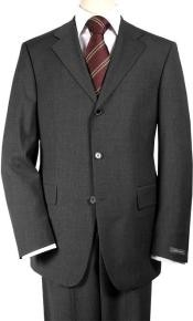 premier quality italian fabric Charcoal Gray Super 150s Wool Mens Suits -