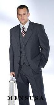 Mens Three Piece Suit - Vested Suit 1 One Pleat Pants With