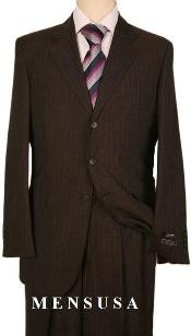 Three Buttons Style suit Dark Brown Pinstripe Two ~ 2 buttons Stripe Flat Front Pants Regular Fit