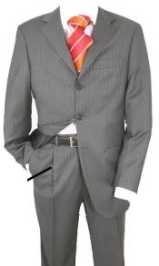 777 Charcoal Gray Pinstripe Super 120s Wool Available in 2 or 3 Buttons Style Regular Classic Cut