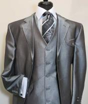 Three Button Single Breasted Vested Suit Jacket With Flap Pocket Silver