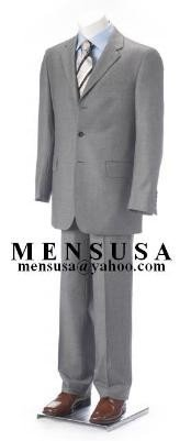 Light Gray 2 or 3 button Business Mens Suit Super 140S Wool
