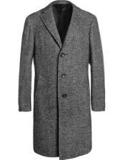 Dress Coat  Tweed ~ Herringbone 3 Button Grey Long Mens