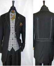 Grey Trimmed 3 Button  Vest Belted Back Black Three Buttons