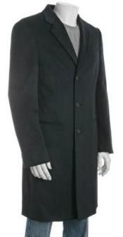 inch Mens Dress Coat Three-button Notch Lapel Side Vented navy blue