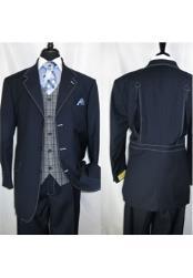 Landi Mens Navy Blue Vested Single Breasted 3 Button Suit Jacket