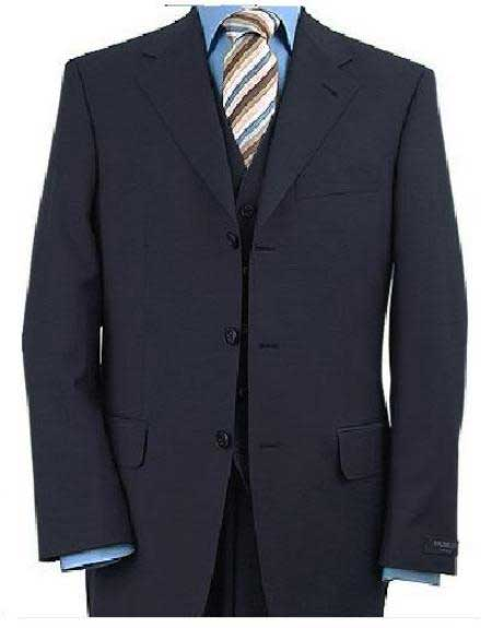 3 Piece Dark Navy Blue Suit For Men Vested 3 ~ Three