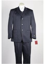 Mens Bold Gangster Chalk Stripe 3 Button Single Breasted LinSuit Navy and Sky Baby Blue stripe Vested