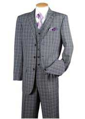 Dark Navy 3 Piece Plaid Window Pane Vested Three Buttons Style