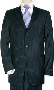Comservative Dark Navy Pinstripe Super 140s Wool Virgin Wool Double Vent