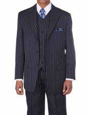 Mens 1920s 30s Fashion Look Available in 2 or Three ~ 3 Buttons Vested Navy/White Pinstripe ~