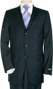 Mens Dark Navy Pinstripe Buiness premier quality italian fabric Super 150 100% Wool Three ~ 3 Buttons