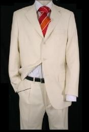 Mens Ivory/Off White 2 Or 3 Button Suits For Men Light Weight