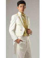 White or Ivory and Gold Trim Lapel Two Toned Trim Lapel Tail Tuxedo Suit
