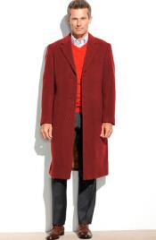 Mens 65% Wool full length Notch Lapel Overcoat ~ Topcoat (Cashmere Touch (not cashmere)) Red