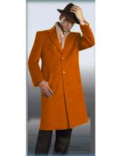 Orange Overcoat - Orange Three Quarter Mens Wool Car Coat - Mid