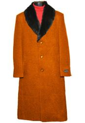 Dress Coat 3 Button Wool (Removable ) Fur Collar Single Breasted