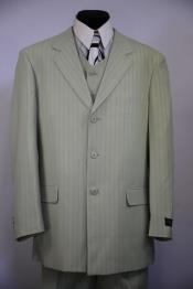 Mens Notch Lapel Flap Pocket Striped 3pc Zoot Suit Sage