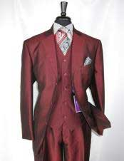 Single Breasted Sharkskin Burgundy ~ Wine ~ Maroon Color vested Cheap