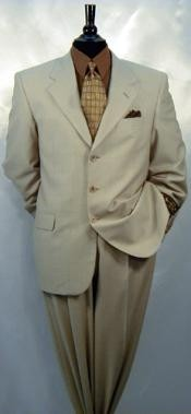 3 buttons Tan ~ Beige Notch Lapel Side Vented Single Breasted